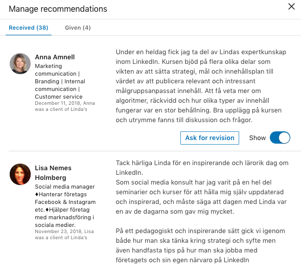 LinkedIn rekommendation redigera