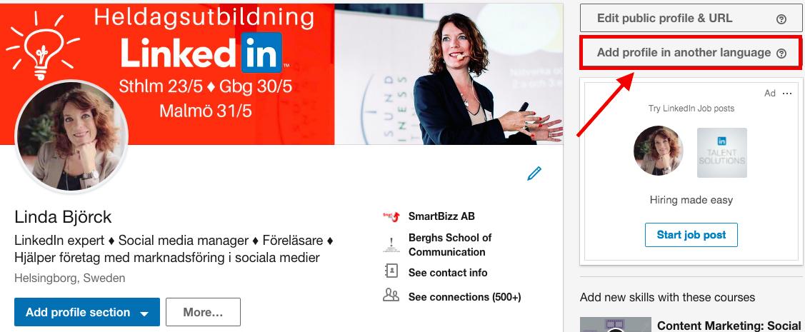 profil flera språk LinkedIn