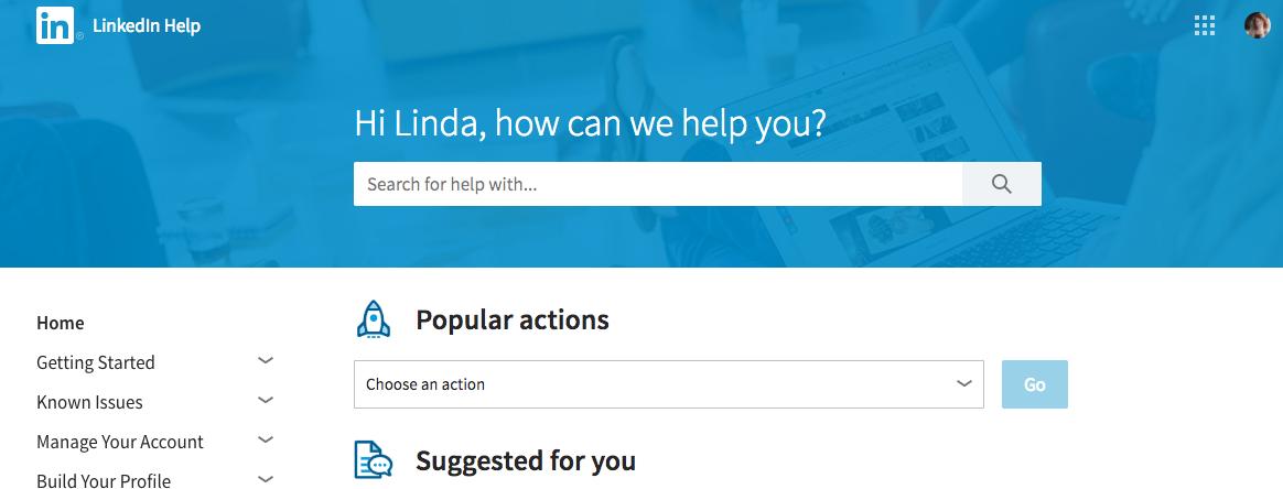 LinkedIn hjälpsida