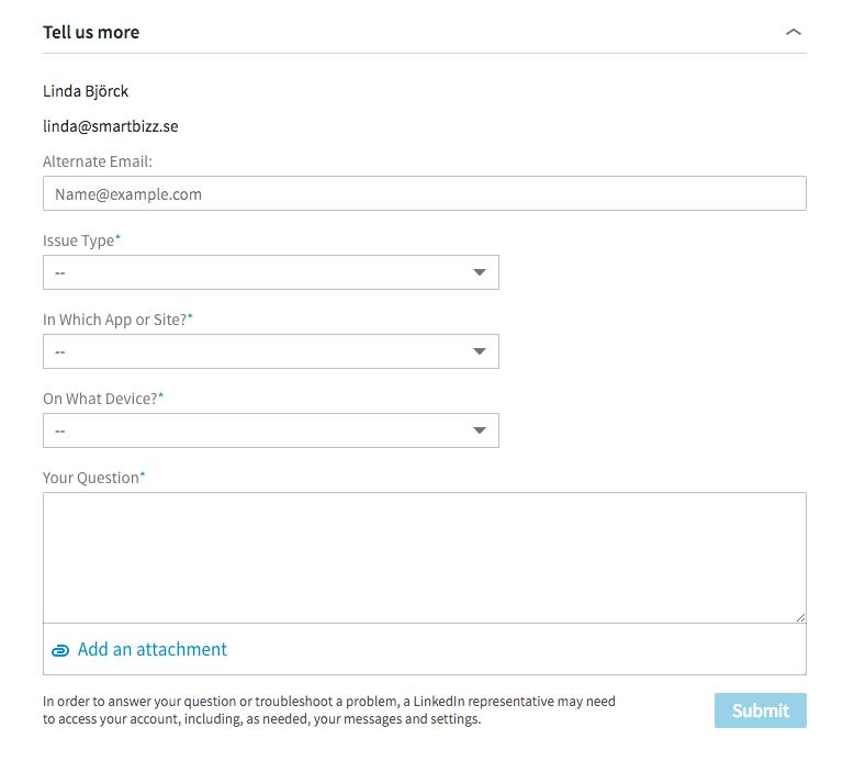 LinkedIn kontaktformulär