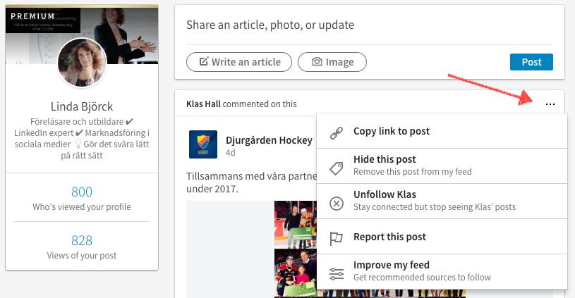 I mitt exempel nedan kan jag alltså välja att dölja inlägg från Djurgården  Hockey och på sätt förbättra mitt flöde. e61eb29da131d