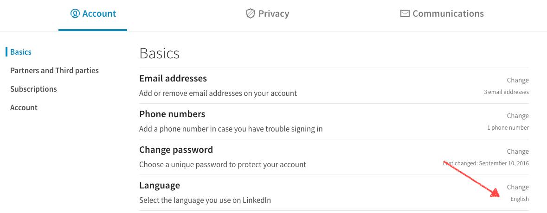 ändra språk LinkedIn