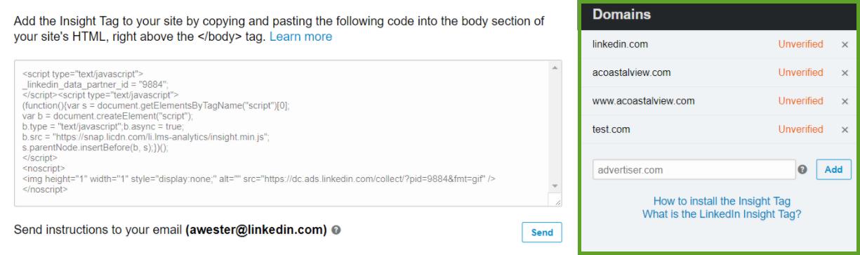 LinkedIn Javascript insight tag