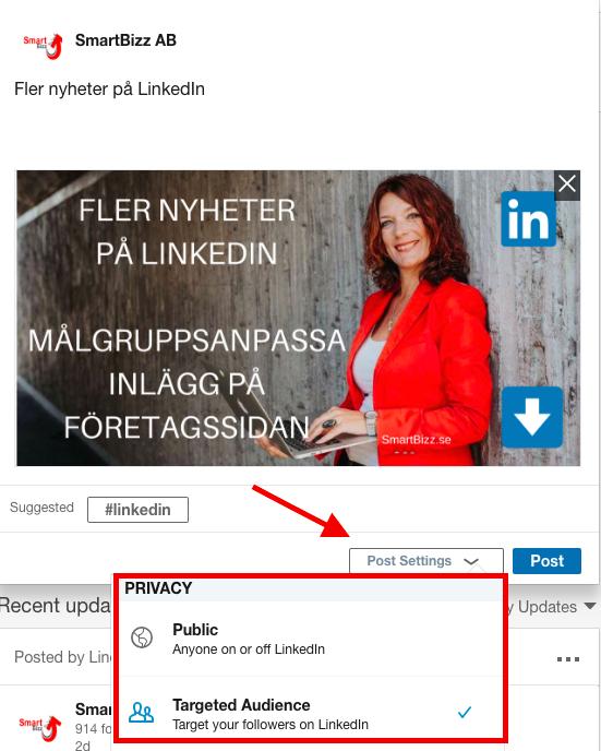 målinriktade inlägg LinkedIn