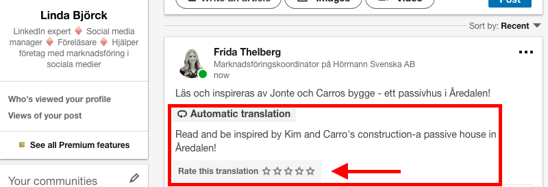 automatisk översättning text LinkedIn