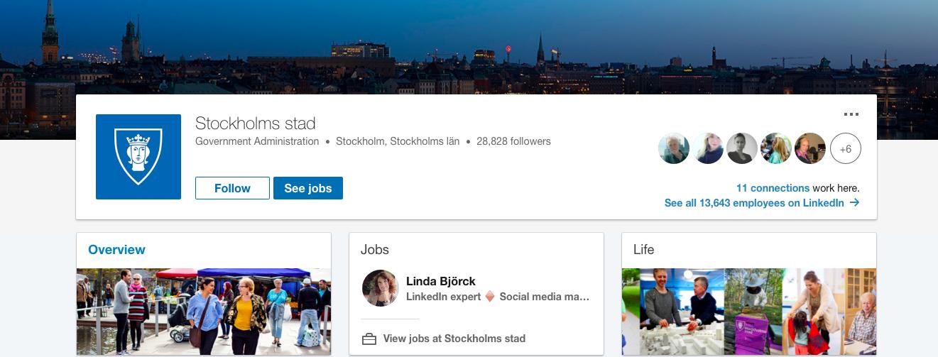 Stockholm företagssida Linkedin