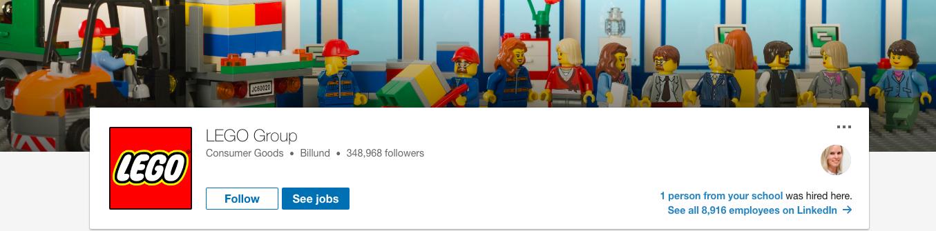 Lego företagssida LinkedIn