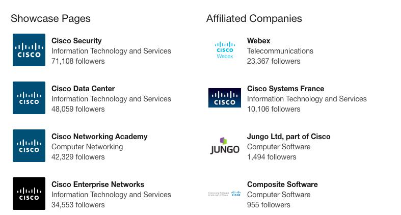 Cisco företagssida LinkedIn
