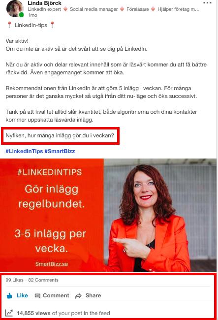 inlägg LinkedIn engagemang